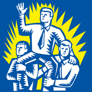 Businessman Leader Prop Up Shoulders Woodcut