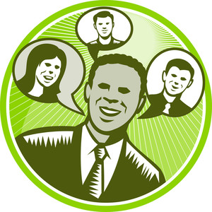 Businessman People Smiling Speech Bubble