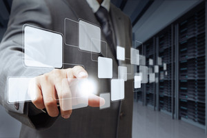 Businessman Pushing Virtual Buttons And Server Room Background