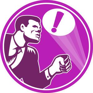 Businessman Responding Emergency Signal Retro