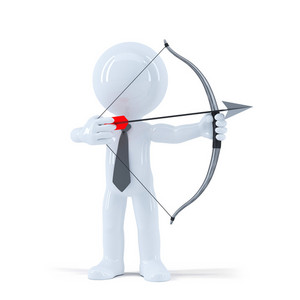 Businessman Takes Aim At A Target With Bow And Arrow