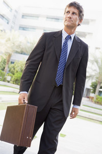 Businessman walking outdoors