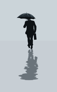 Businessman Walking With Briefcase And Umbrella. Vector Illustration.