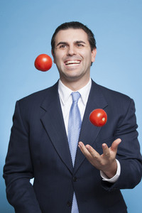 Businessman with fruits and vegetables