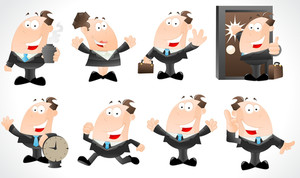 Businessmen Cartoon Characters Vectors