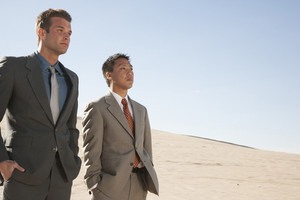 Businesspeople in desert