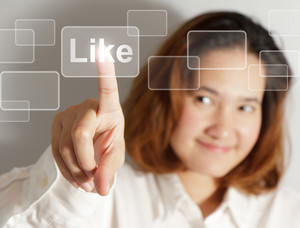 Businesswoman Hand Push Like Virtual Button