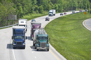 Busy Traffic On An Interstate Highway