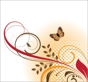 Butterfly And Swirl Vector Background