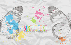 Butterfly On A Paper-background With Blots. Vector Illustration.