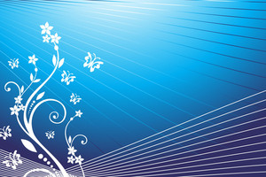 Butterfly On Floral Background Blue Vector Wallpaper