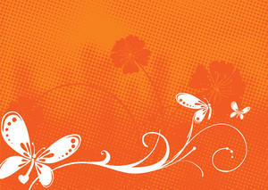 Butterfly On Orange Floral Background
