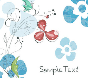 Butterfly With Floral Vector Illustration