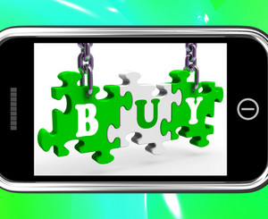 Buy On Smartphone Showing Consumerism