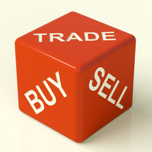Buy Trade And Sell Dice Representing Business And Organization