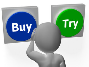 Buy Try Buttons Show Buyer Purchase Decision