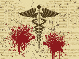 Caduceus Medical Symbol On Grunge Background