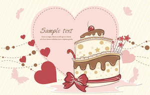 Cake With Hearts Vector Illustration
