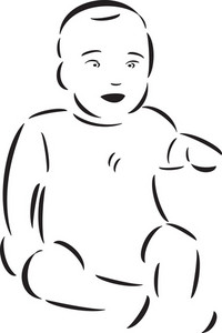 Illustration Of A Sitting Baby.