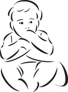 Sitting Pose Of A Baby.