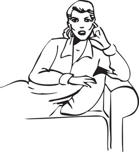 Illustration Of A Lady Sitting On Sofa.