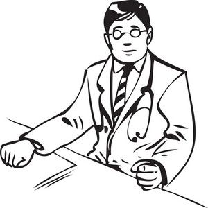 Illustration Of A Doctor With Stethoscope.