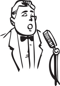 Illustration Of A Man With Microphone.