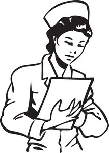 Illustration Of A Nurse With Clipboard.