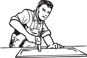 Illustration Of A Worker With Machine.