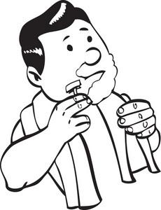 Illustration Of A Man Shaving.