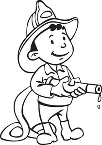 Illustration Of A Man With Water Hose.