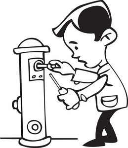 Illustration Of A Mechanic With Water Hydrant.