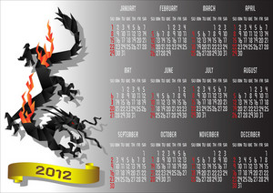 Calendar 2012 With Chinese Black Dragon