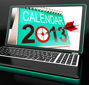 Calendar 2013 On Laptop Shows Online Predictions