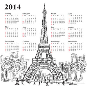 Calendar Eifel Tower 2014