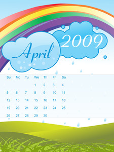 Calendar For 2009 With Sky And Rainbow