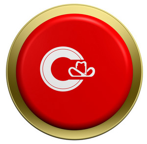Calgary Flag On The Round Button Isolated On White.
