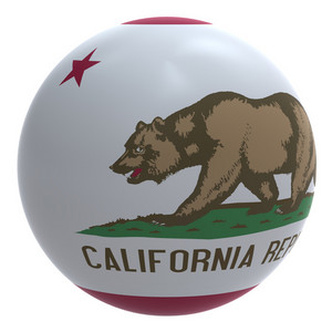California Flag On The Ball Isolated On White.