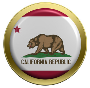 California Flag On The Round Button Isolated On White.