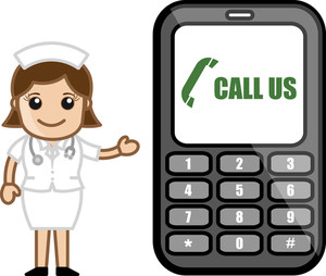 Call Us - Help Line Concept - Medical Cartoon Vector Character