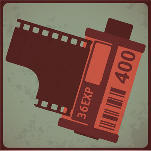 Camera Film Roll. Vintage Styled Vector Illustration.