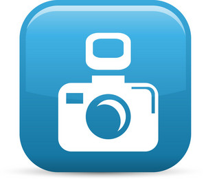 Camera With Flash Elements Glossy Icon