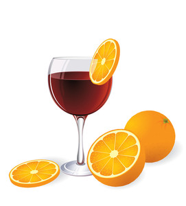 Campari And Orange. Vector. No Blends Or Gradient Meshes