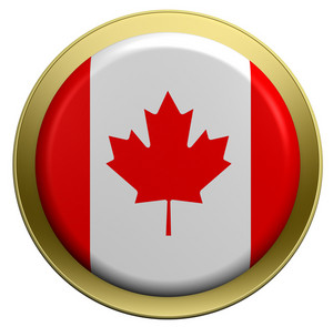 Canada Flag On The Round Button Isolated On White.
