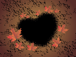 Canadian Leaves With Black Grunge Heart
