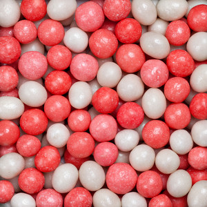 Candies red and white background