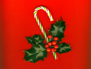 Candy Cane With Pretty Holly Leaves And Berries On Red Background