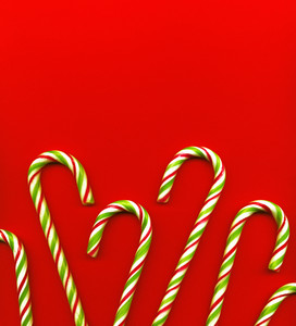 Candy Canes On Red Bacground