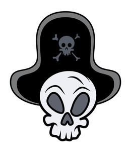 Captain Pirate Skull - Vector Cartoon Illustration
