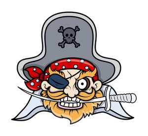 Captain Pirate Tattoo Mascot - Vector Cartoon Illustration